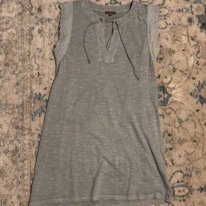 Gray flutter sleeve dress